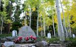 The gravestone of sisters Sarah and Gertrude Mullins resides at Iron City Cemetery nested in an aspen grove alive with yellows on September, 18, 2012. The cemetery is located two miles east of St. Elmo behind the Iron City campground.  Mahala Gaylord, The Denver Post