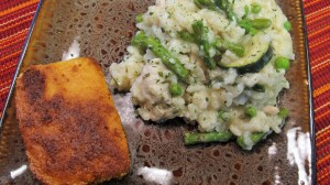 Risotto with chicken, asparagus, zucchini, onions, and peas